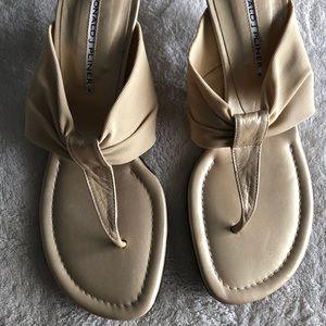 Donald J. Pliner gold leather/ cloth sandals